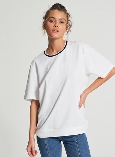 Pi π Sırtı Baskı Detaylı Sweatshirt Beyaz